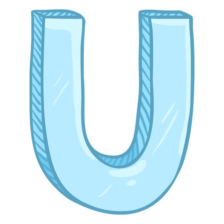 Vector Single Cartoon Illustration - Ice Blue Letter U Иллюстрация