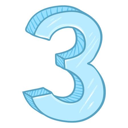 Vector Cartoon Illustration - Number Tree. The Figure of 3. Illustration