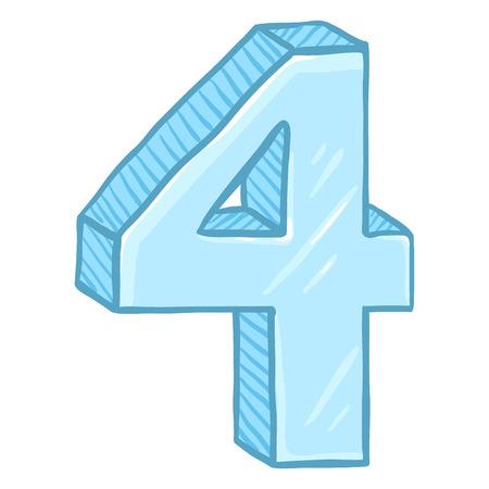 Vector Cartoon Illustration - Number Four. The Figure of 4. Illustration