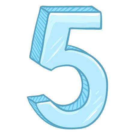 Vector Cartoon Illustration - Number Five. The Figure of 5. Иллюстрация