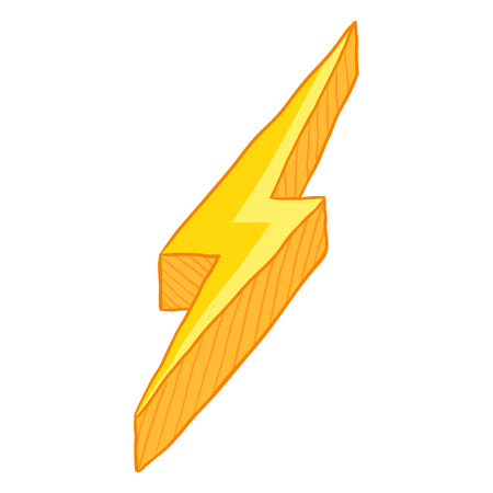 Vector Cartoon Illustration - Yellow Thunder Lighting Symbol