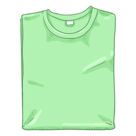 Vector Cartoon Illustration - Folded Light Green T-shirt