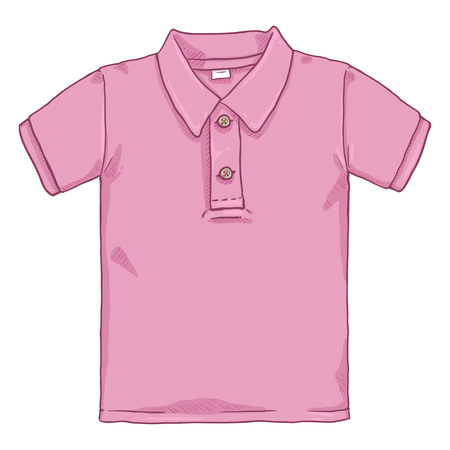 Ilustracja kreskówka wektor - różowa koszulka polo