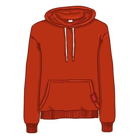 Vector Cartoon Illustration - Red Hoodie Sweatshirt
