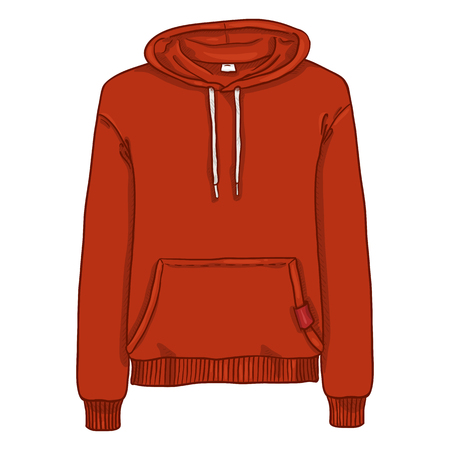 Ilustración de dibujos animados de vector - sudadera con capucha roja