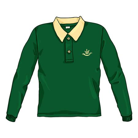 Vector Cartoon Color Illustration - Green Rugby Shirt Illustration