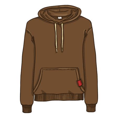 Vector Cartoon Illustration - Brown Hoodie Sweatshirt