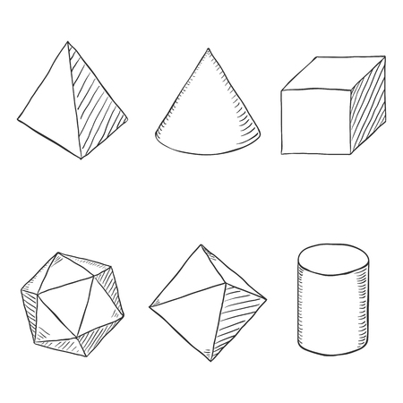 Vector Set of Hand Drawn Sketch Geometry Shapes Imagens - 110071518