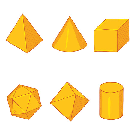 Vector Set of Cartoon Golden Geometry Objects