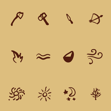 Vector Set of Icons in Cave Drawings Style. Tools and Nature Elements. Primitive Art Illustrations. Illustration