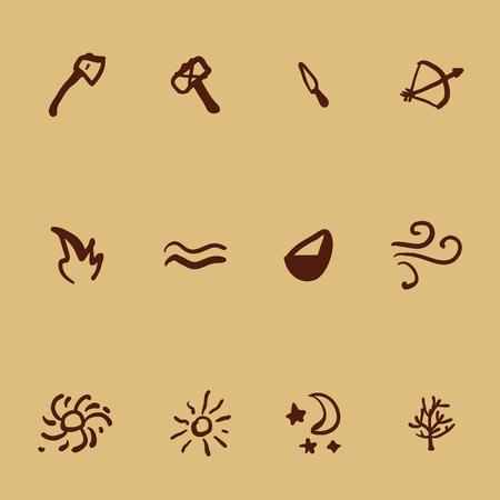 Vector conjunto de iconos en estilo de dibujos de cuevas. Herramientas y elementos de la naturaleza. Ilustraciones de arte primitivo.