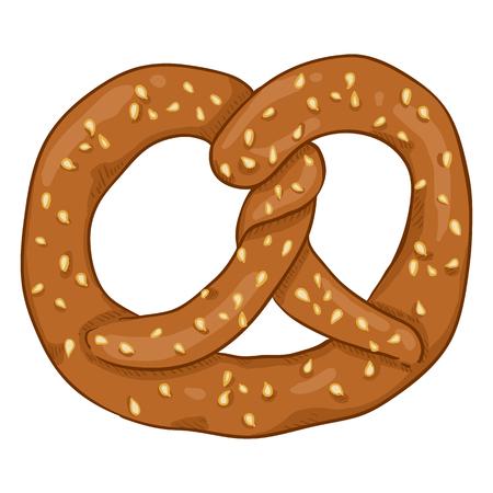 Vector Cartoon Traditional German Snack - Pretzel with Sesame Seeds