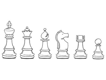 Insieme di vettore dei pezzi degli scacchi schizzo nero. Collezione completa di figure di scacchi.