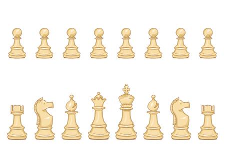 Vecteur série de pièces d'échecs de dessin animé blanc. Définir pour jouer.