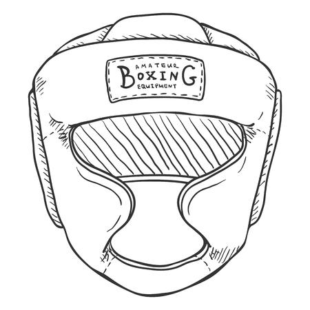 Casco da allenamento per boxe schizzo vettoriale