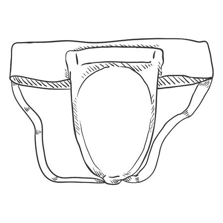 Vector Sketch Groin Guard for Martial Arts