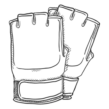 Vector Sketch Fighting Gloves for Mix Martial Arts. MMA Equipment.