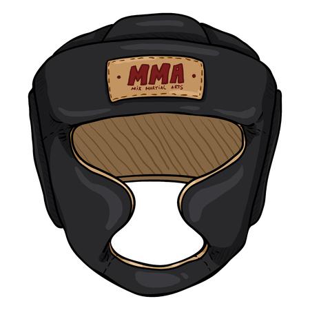 Casco da allenamento nero fumetto vettoriale per arti marziali miste