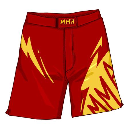Vector Cartoon Red MMA Long Shorts Illustration