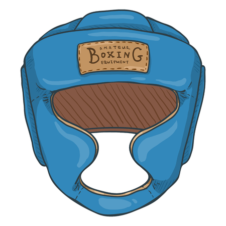 Vector Cartoon Blue Boxing Training Helmet
