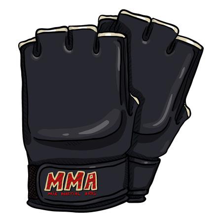 Vector Cartoon Black Fighting Gloves for Mix Martial Arts. MMA Equipment. Vectores