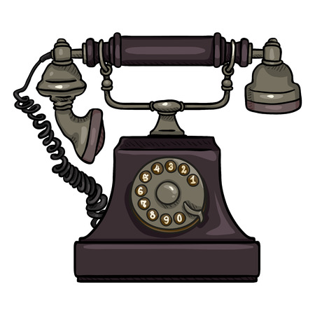Vector Cartoon Purple Old Vintage Telephone. Retro Rotary Phone Иллюстрация