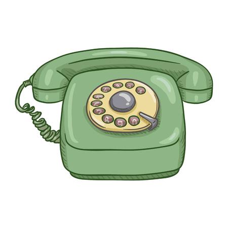 Téléphone rotatif de style rétro vert de dessin animé de vecteur