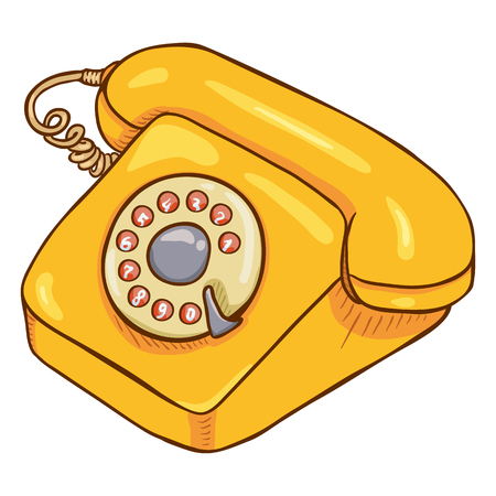 Vector Cartoon Yellow Retro Style Rotary Phone