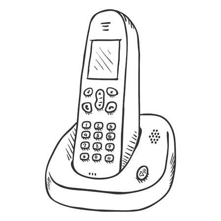 Vector Sketch Cordless Phone. Wireless Home Telephone.