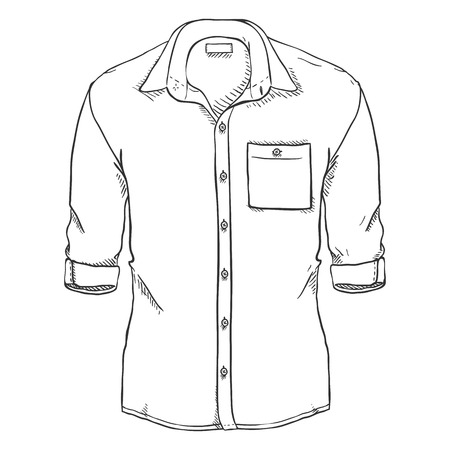 Vector Sketch Casual Men Shirt with Roll Up Sleeves 矢量图像