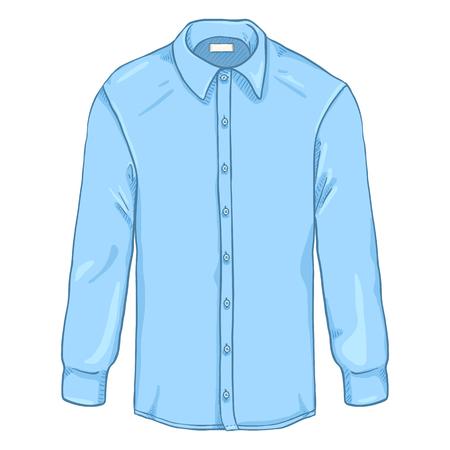 Vector Cartoon Long Sleeve Light Blue Classic Men Shirt