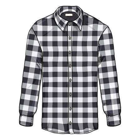 Vector Cartoon Long Sleeve Black and White Checkered Men Shirt