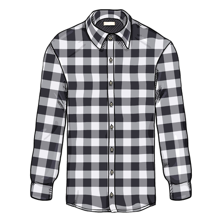 Vector Cartoon Long Sleeve Black and White Checkered Men Shirt