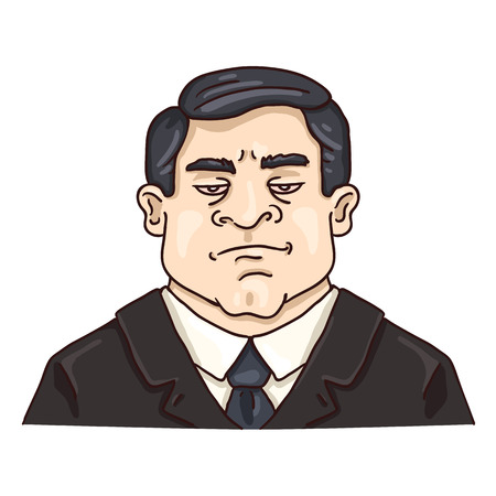 Vector Cartoon Business Avatar - Stern White Man in Black Suit. Male Character Portrait