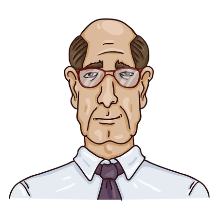 Vector Cartoon Business Avatar - Bald Old Man in Shirt and Eyeglasses. Male Character Portrait