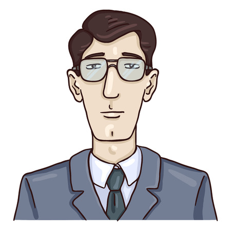 Vector Cartoon Business Avatar - Young White Man in Gray Suit. Male Character Portrait
