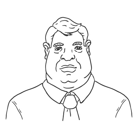 Vector Line Art Business Avatar - Fat Man in Shirt and Necktie. Male Character Portrait. Illustration