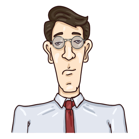 Vector Cartoon Business Avatar - Black Hair Young Man in Glasses and Necktie.