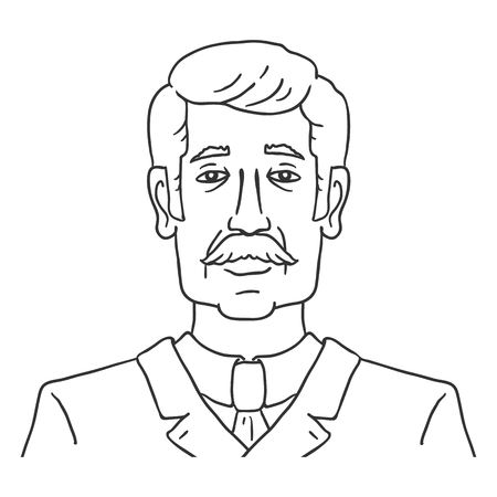 Vector Line Art Business Avatar - Old Moustached Man in Suit. Male Character Portrait. Illustration