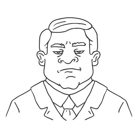 Vector Line Art Business Avatar - Brutal Men in Suit. Male Character Portrait.