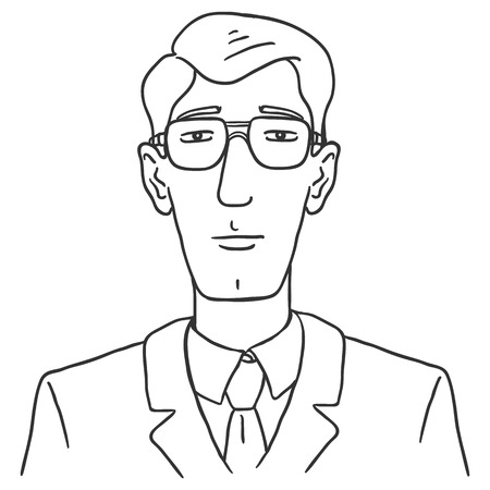 Vector Line Art Business Avatar - Young Man in Glasses and Suit . Male Character Portrait.