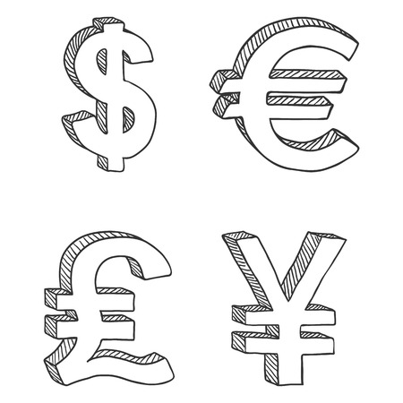 Vector Set of Sketch Currency Signs. US Dollar, Euro, English Pound and Japanese Yen.