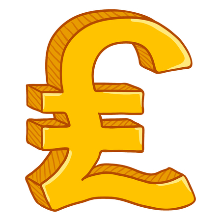 Vector Cartoon Gold Currency Sign. Britain Pound Symbol Çizim