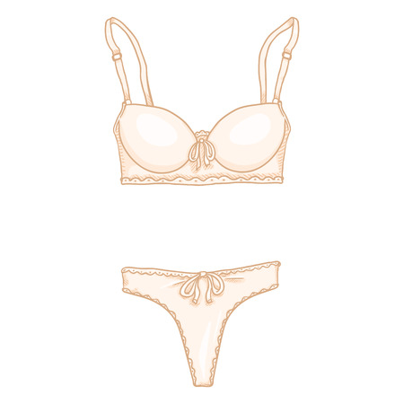 Vector Cartoon Beige Women Lingerie. Female Underwear. Bra and Panties. Illustration