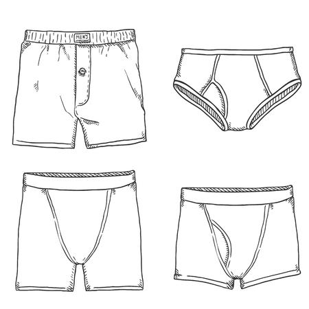 Vektor-Set Skizze Herrenhosen. Männliche Unterwäsche. Verschiedene Arten von Unterwäsche.