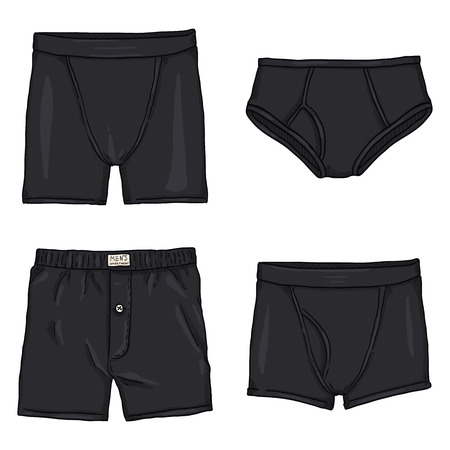 Vector Set of Cartoon Black Mens Pants. Male Underwear. Different types of Underclothing.