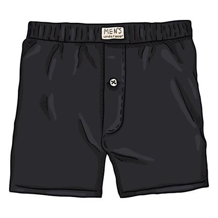 Vector Cartoon Black Male Underwear. Cotton Mens Briefs