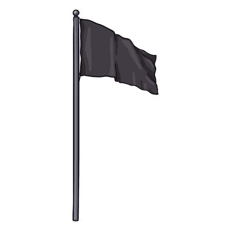Vector Cartoon Waving Black Rectangle Flag