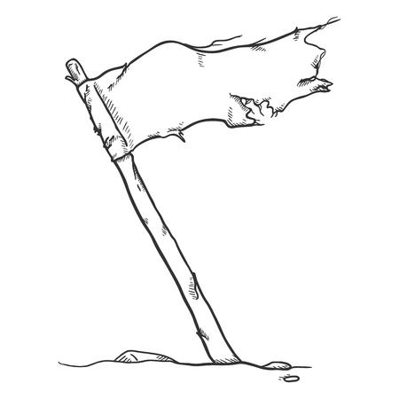 Vector Sketch Waving Old Torned Flag