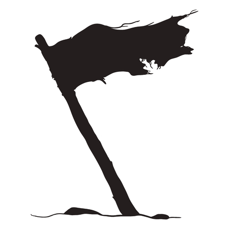Vector Black Silhouette of Waving Old Tattered Flag